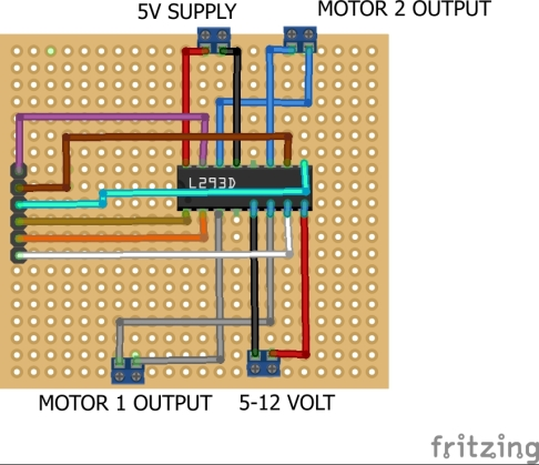 Make your own motor driver l293D circui