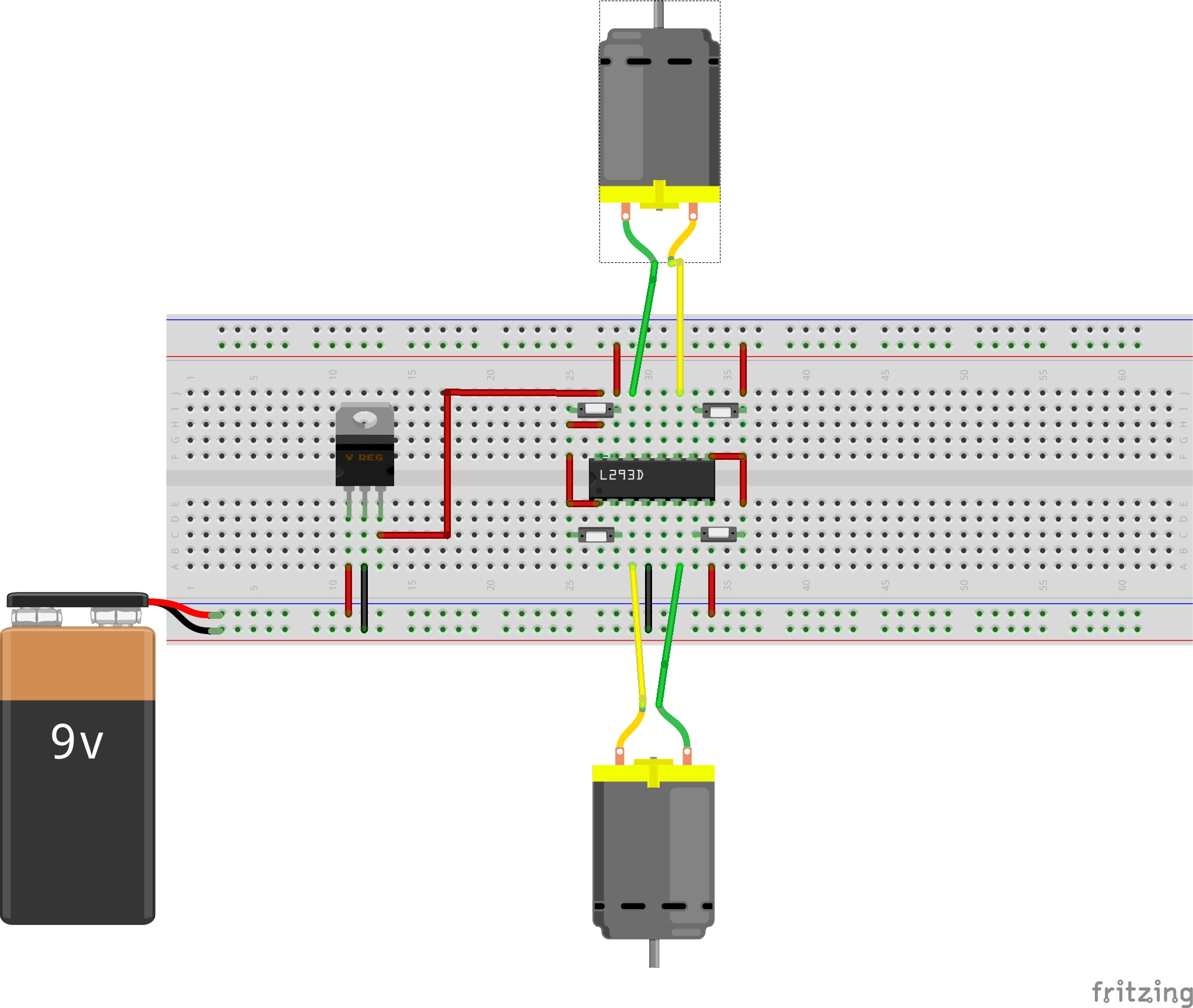 Learn Make Your Own Cheap L293d Motor Drivera Complete Guide For Battery Tester Circuit Breadboard Schematic Now Connect Everything As Shown In Diagram