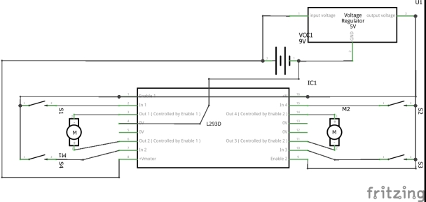 test circuit of L293D without arduino or microcontroller